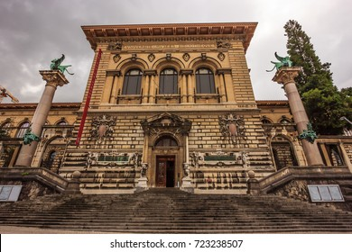 Lausanne, Switzerland - June 19, 2016 - The Palais de Rumine in Lausanne. The former palace now serves as a museum, university and library. One of Popular Lausanne old town Architectural Attractions.
