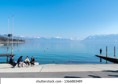 Lausanne, Switzerland - March 24, 2019 :Geneva Lake Lausanne Switzerland. Tourists come to visit and sightseeing around the area.