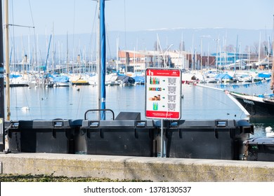 Lausanne, Switzerland - March 24, 2019 : separated garbage bag for environment and recycle. at private yachts docked in Lausanne Ouchy port, Switzerland