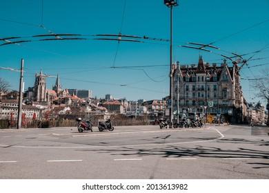 Lausanne, Switzerland - March 24, 2019 : Place de l'Europe or Europe square in Lausanne Switzerland.