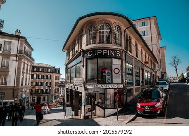 Lausanne, Switzerland - March 24, 2019 : View Lausanne around Place de l'Europe or Europe square in Lausanne Switzerland.