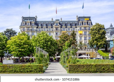 LAUSANNE, SWITZERLAND - May 10, 2017: The Beau-Rivage Palace is a historical luxury hotel in Lausanne, Switzerland, constructed in Art Nouveau and neo-baroque style in 1908.