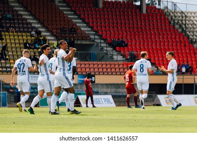 LAUSANNE, SWITZERLAND - MAY 26, 2019: FC Lausanne-Sport player, Dan Ndoye , celebrates after scoring against FC Vaduz in the Swiss Challenge League.