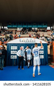 LAUSANNE, SWITZERLAND - MAY 26, 2019: FC Lausanne-Sport player, João Oliveira, waves at the fans after a 6-2 win against FC Vaduz.