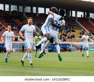 LAUSANNE, SWITZERLAND - MAY 26, 2019: FC Lausanne-Sport player, Igor N'Ganga, celebrates after scoring a goal against vs FC Vaduz in the Swiss Challenge League.