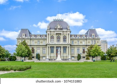 LAUSANNE, SWITZERLAND - May 9, 2017: The Palais de Justice (Law Courts in French) in Montbenon park, Lausanne, Switzerland in summer.