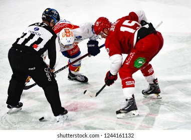 Lausanne - SWITZERLAND - November 23, 2018 : The Ice Hockey Match between Lausanne Hc and Zurich Sc on the 21st day of the 2018/19 season of the Swiss Naional League (face-off)