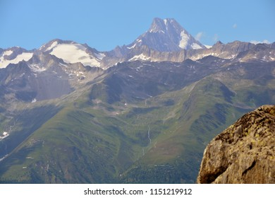 the Lauteraarhorn in the Bernese Alps viewed from the South in Switzerland