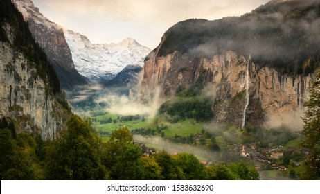 Lauterbrunnen Valley and Staubbach Fall, Switzerland