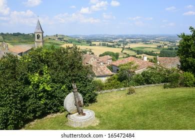 Lautrec (Tarn, Midi-Pyrenees, France), medieval village: panoramic view