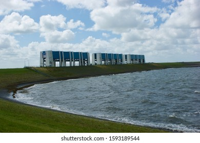 Lauwersoog, The Netherlands - july 12 2017: The R.J. Cleveringsluizen at Lauwersoog to the Wadden Sea