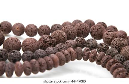 Lava beads, coffee-colored