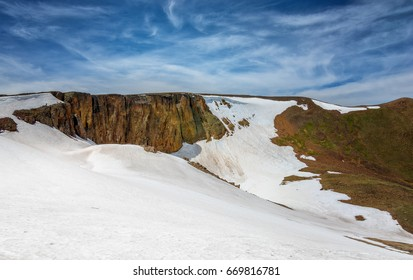 Lava Cliffs at Rocky Mountain National Park. Alpine snow rock formations in the alpine tundra of Colorado