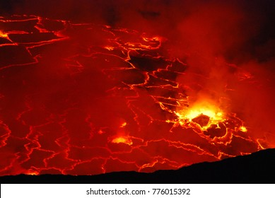 lava in the crater of a volcano