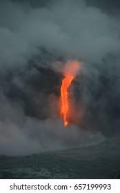 Lava entry to ocean at Big Island, Hawaii