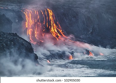 Lava erupting into Pacific Ocean in Hawaii Big Island