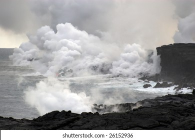 Lava erupting into Pacific Ocean during day on Big Island