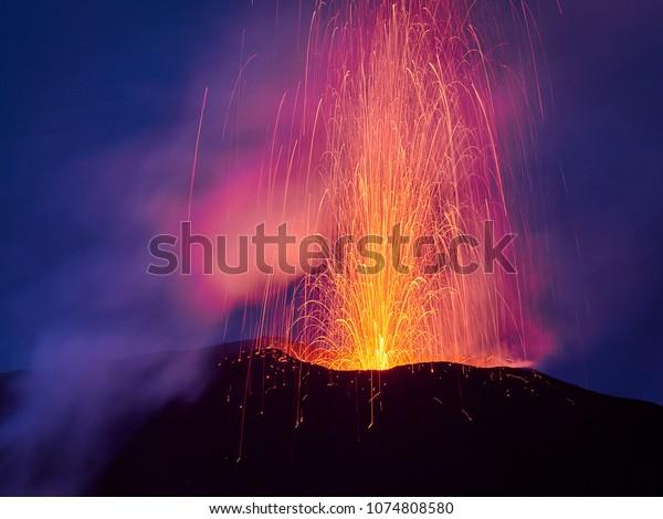 Lava Eruption of the Stromboli volcano, Aeolian islands, Sicily, Italy
