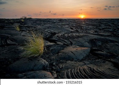 Lava field close to Kona at sunset, Big Island, Hawaii