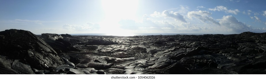 Lava field Hawaii black rock barren wasteland