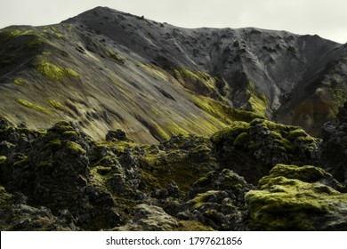 Lava field at Landmannalaugar in Fjallabak natural reserve, South Iceland. Beautiful nature landscape
