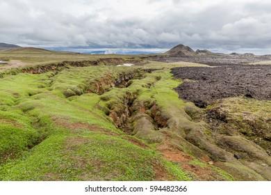 lava fields around Krafla with cloudy sky, northern Iceland