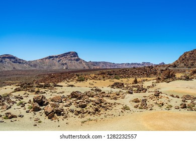 The lava fields of Las Canadas caldera of Teide volcano. Viewpoint: Minas de San Jose. Tenerife. Canary Islands. Spain.