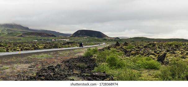 Lava Fields near Grabrok Crater in the western region of Iceland