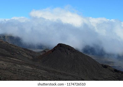 Lava fields in the slopes and caldera of Piton de la Fournaise, an active volcano in Réunion island, Indian Ocean