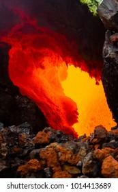 Lava flow near active volcano Tolbachik. Kamchatka Peninsula, Russia.