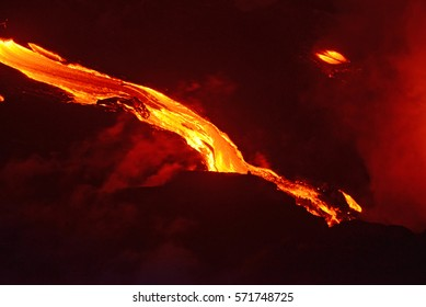 Lava flow at night from Big Island, Hawaii