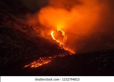 Lava Flow on Mount Etna