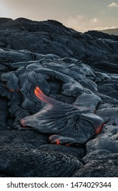 Lava flow on the side of the Kilauea Volcano in Hawaii. Textures for closeups.