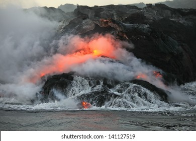 Lava flowing  into Pacific Ocean on Big Island, Hawaii