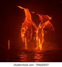 Lava Flowing Into the Pacific Ocean at Night, Big Island, Hawaii