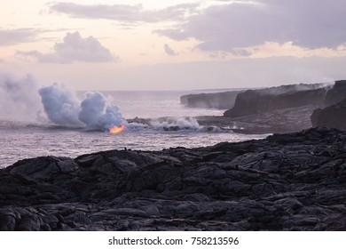 Lava flowing into the sea at Kamokuna on the south coast of Big Island, Hawaii