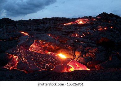 Lava flowing at twilight, Big Island, Hawaii