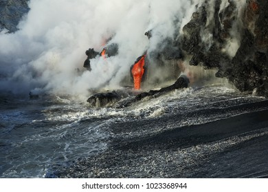 Lava flows from the Kilauea volcano to the coastline of the Big Island of Hawaii