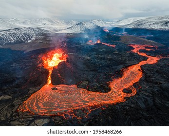 Lava Flows on active volcano aerial view, Mount Fagradalsfjall, Iceland