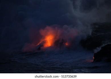 Lava glowing orange at night