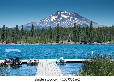 Lava Lake, along the Cascade Lakes Scenic Byway near Bend Oregon, with Mt. Bachelor in the backgrou