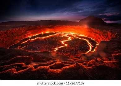 Lava lake in the Erta Ale volcano. Danakil depression, Ethiopia