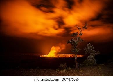 Lava Lake is glowing at night within Halemaumau Crater, Kilauea Volcano
