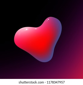 Lava lamp red heart liquid vector background. Red lava lamp on dark background.