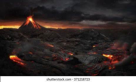 Lava landscape with volcano