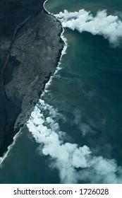 Lava meets ocean, Big Island aerial shot, Hawaii