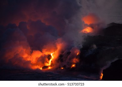 Lava Meets Ocean on Big Island, Hawaii