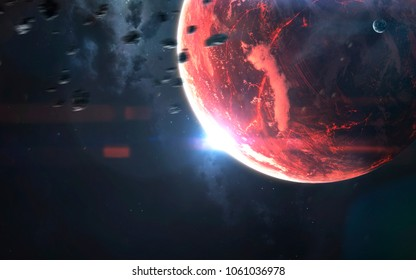 Lava planet, awesome science fiction wallpaper, cosmic landscape. Elements of this image furnished by NASA