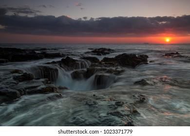 Lava pool on hawaiian coast