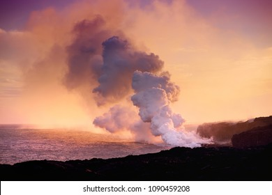 Lava pouring into the ocean creating a huge poisonous plume of smoke at Hawaii's Kilauea Volcano, Volcanoes National Park, Big Island of Hawaii